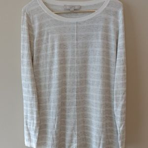 Loft stripe wht & Gray heathered l/s sweater sz M
